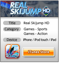Title:Real Skijump HD Category:Games - Sports, Games - Action Devixe:iPhone / iPod touch / iPad iTunes Store